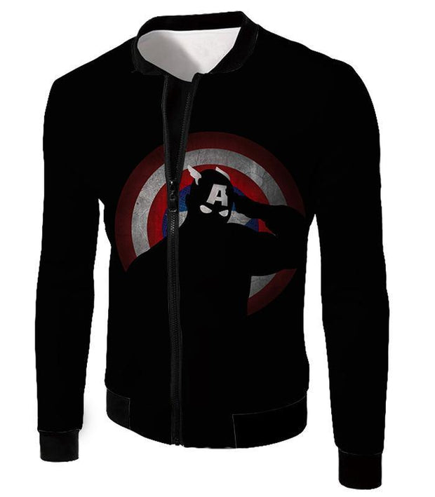 OtakuForm-OP Zip Up Hoodie Jacket / XXS American Comic Hero Captain America Silhouette Promo Black Zip Up Hoodie