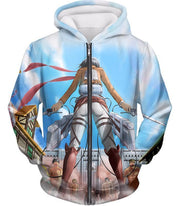 OtakuForm-OP Hoodie Zip Up Hoodie / US XXS (Asian XS) Attack on Titan Cool Action Still Mikasa Ackerman Vs Titans Hoodie