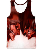 OtakuForm-OP Hoodie Tank Top / US XXS (Asian XS) Attack on Titan Cool Armoured Titan Vs Eren Yeager White Printed Hoodie  - Anime Hoodie