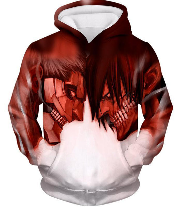 OtakuForm-OP Hoodie Hoodie / US XXS (Asian XS) Attack on Titan Cool Armoured Titan Vs Eren Yeager White Printed Hoodie  - Anime Hoodie