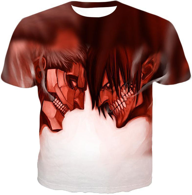 OtakuForm-OP Hoodie T-Shirt / US XXS (Asian XS) Attack on Titan Cool Armoured Titan Vs Eren Yeager White Printed Hoodie  - Anime Hoodie