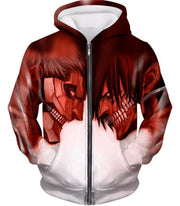 OtakuForm-OP Hoodie Zip Up Hoodie / US XXS (Asian XS) Attack on Titan Cool Armoured Titan Vs Eren Yeager White Printed Hoodie  - Anime Hoodie
