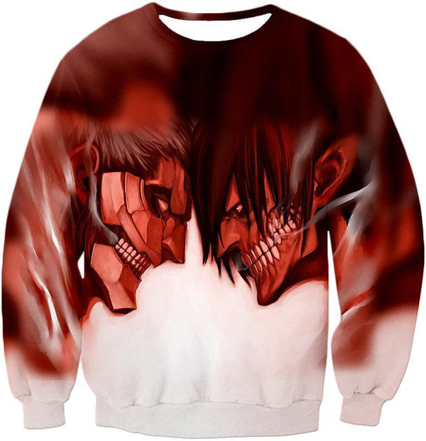 OtakuForm-OP Hoodie Sweatshirt / US XXS (Asian XS) Attack on Titan Cool Armoured Titan Vs Eren Yeager White Printed Hoodie  - Anime Hoodie