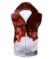 OtakuForm-OP Hoodie Hooded Tank Top / US XXS (Asian XS) Attack on Titan Cool Armoured Titan Vs Eren Yeager White Printed Hoodie  - Anime Hoodie