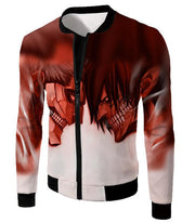 OtakuForm-OP Hoodie Jacket / US XXS (Asian XS) Attack on Titan Cool Armoured Titan Vs Eren Yeager White Printed Hoodie  - Anime Hoodie