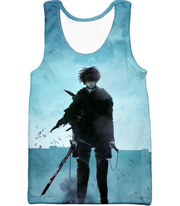 OtakuForm-OP Hoodie Tank Top / US XXS (Asian XS) Attack on Titan Deadly Fighter Captain Levi Blue Hoodie