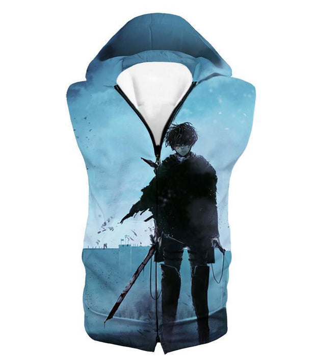 OtakuForm-OP Hoodie Hooded Tank Top / US XXS (Asian XS) Attack on Titan Deadly Fighter Captain Levi Blue Hoodie