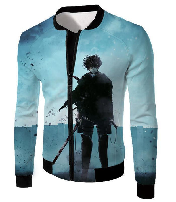 OtakuForm-OP Hoodie Jacket / US XXS (Asian XS) Attack on Titan Deadly Fighter Captain Levi Blue Hoodie