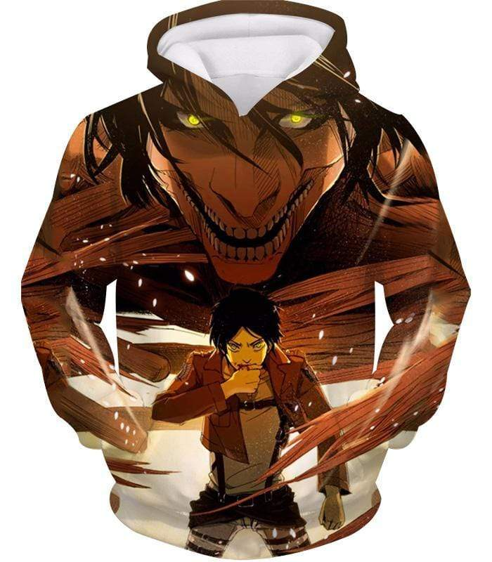 OtakuForm-OP Zip Up Hoodie Hoodie / XXS Attack on Titan Eren Yeager Transforms Titan Zip Up Hoodie Hoodie