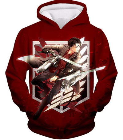 OtakuForm-OP Hoodie Hoodie / XXS Attack On Titan Hoodie - Attack on Titan Humanitys Strongest Soldier Levi Ackerman of Survey Corps Cool Red Hoodie