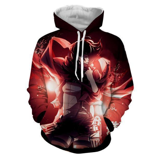 Attack On Titan Hoodie XXS Attack On Titan Mikasa Ackerman Omni Red Scarf 3D Hoodie - AOT Hoodie