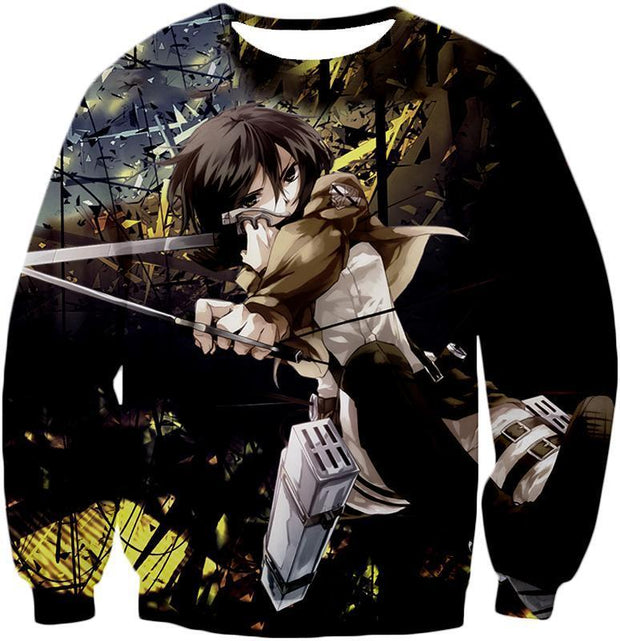 OtakuForm-OP Hoodie Sweatshirt / US XXS (Asian XS) Attack on Titan Mikasa Ackerman Wings of Freedom Black Hoodie