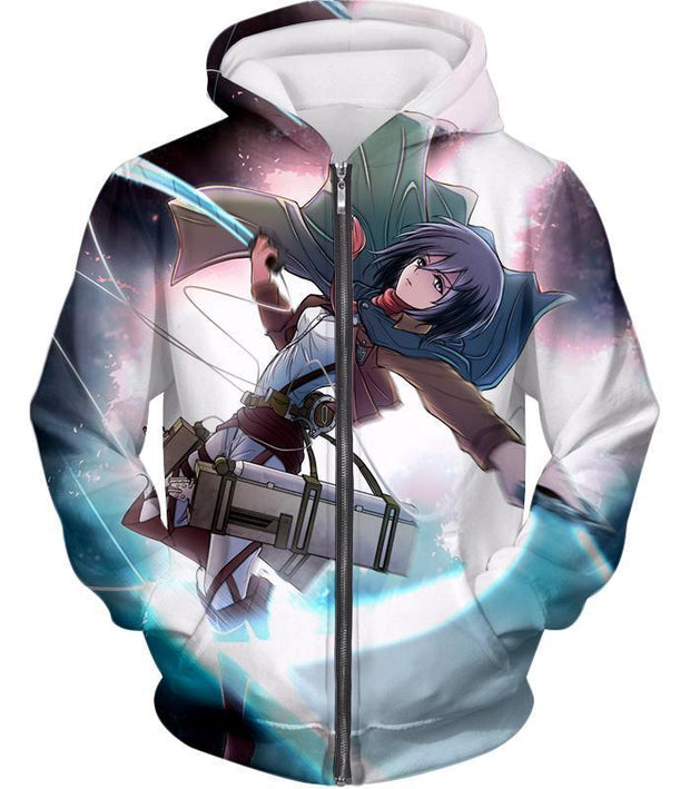 OtakuForm-OP Hoodie Zip Up Hoodie / US XXS (Asian XS) Attack on Titan Super Cool Soldier Mikasa Ackerman Hoodie  - Anime Hoodie