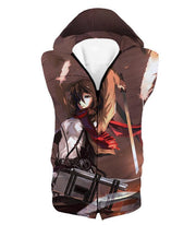 OtakuForm-OP Hoodie Hooded Tank Top / US XXS (Asian XS) Attack on Titan The Survey Corps Emblem Black Hoodie