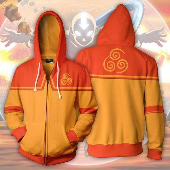 OtakuForm-OP Cosplay Jacket Zip Up Hoodie / US XS (Asian S) Avatar The Last Airbender Hoodies - Aang Zip Up Hoodie Jacket