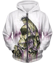 OtakuForm-OP Zip Up Hoodie Zip Up Hoodie / XXS Awesome Green Hulk Fan Art White Zip Up Hoodie