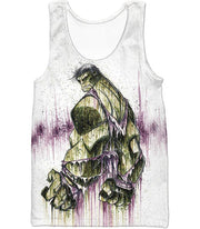OtakuForm-OP Zip Up Hoodie Tank Top / XXS Awesome Green Hulk Fan Art White Zip Up Hoodie