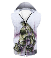 OtakuForm-OP Zip Up Hoodie Hooded Tank Top / XXS Awesome Green Hulk Fan Art White Zip Up Hoodie