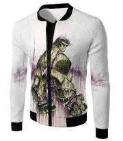 OtakuForm-OP Zip Up Hoodie Jacket / XXS Awesome Green Hulk Fan Art White Zip Up Hoodie