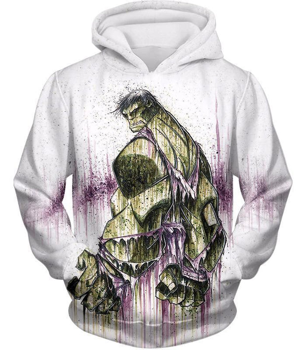 OtakuForm-OP Zip Up Hoodie Hoodie / XXS Awesome Green Hulk Fan Art White Zip Up Hoodie