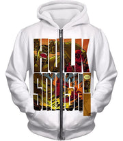 OtakuForm-OP Zip Up Hoodie Zip Up Hoodie / XXS Awesome Hulk Smash White Zip Up Hoodie
