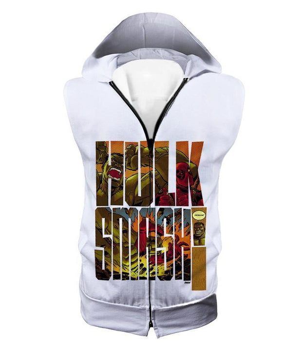 OtakuForm-OP Zip Up Hoodie Hooded Tank Top / XXS Awesome Hulk Smash White Zip Up Hoodie