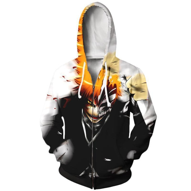 OtakuForm-Bleach Zip Up Hoodie XXS Bleach Hollow Ichigo kurosaki Mask Hoodie - Bleach Zip Up Hoodie