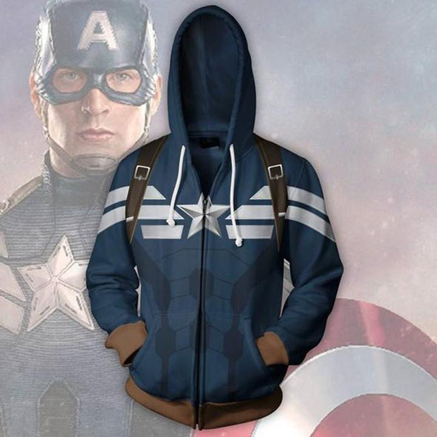 OtakuForm-OP Cosplay Jacket Zip Up Hoodie / US XS (Asian S) Captain America Hoodie - Classic Jacket