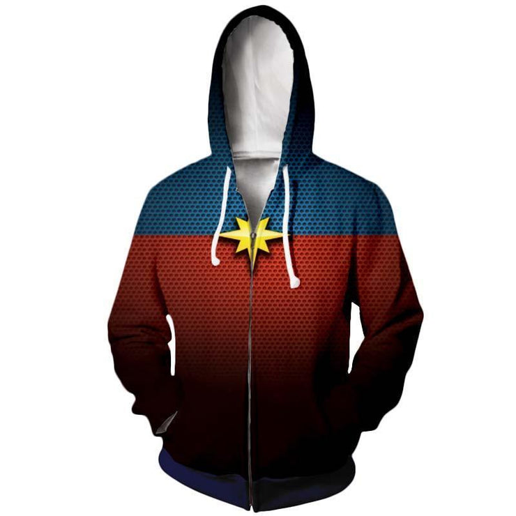 Captain Marvel Zip Up Hoodie XXS Captain Marvel Dotted Zip Up Hoodie - Captain Marvel 3D Graphic Zip Up Hoodie