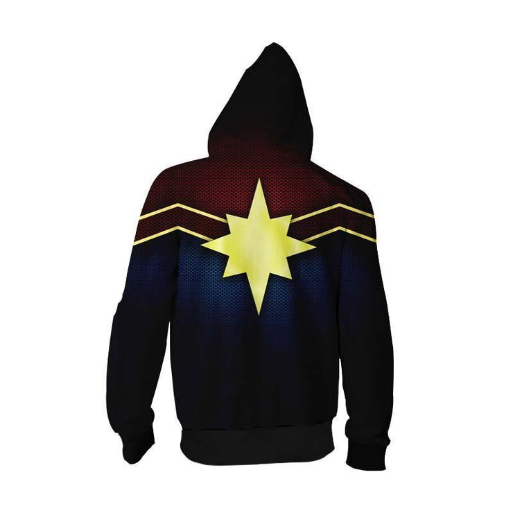 Captain Marvel Zip Up Hoodie XXS Captain Marvel Logo Zip Up Hoodie - Captain Marvel 3D Graphic Zip Up Hoodie