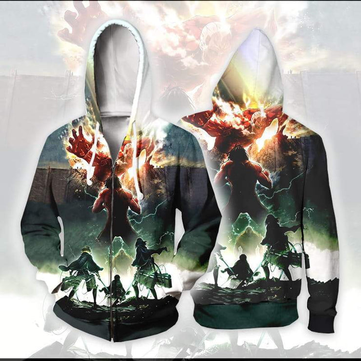 Attack On Titan Zip Up Hoodie XXS / Zip Up Hoodie Colossal Titan with Eren Mikasa and Armin - Attack On Titan Zip Up Hoodie Jacket