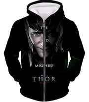 OtakuForm-OP Sweatshirt Zip Up Hoodie / XXS Cool God of Mischief Loki Thor Promo Black Sweatshirt