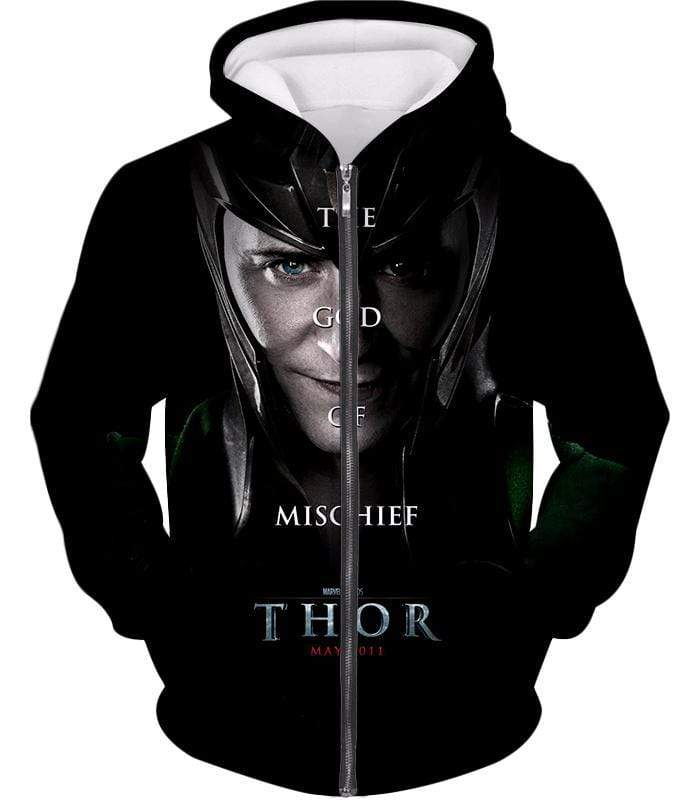 OtakuForm-OP T-Shirt Zip Up Hoodie / XXS Cool God of Mischief Loki Thor Promo Black T-Shirt