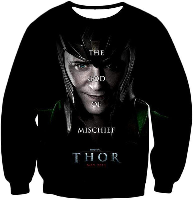 OtakuForm-OP Zip Up Hoodie Sweatshirt / XXS Cool God of Mischief Loki Thor Promo Black Zip Up Hoodie