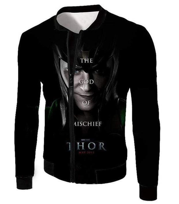 OtakuForm-OP Zip Up Hoodie Jacket / XXS Cool God of Mischief Loki Thor Promo Black Zip Up Hoodie
