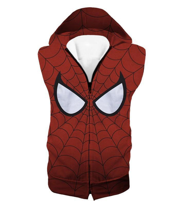 OtakuForm-OP T-Shirt Hooded Tank Top / XXS Cool Spider Net Patterned Spidey Eyes Red  T-Shirt