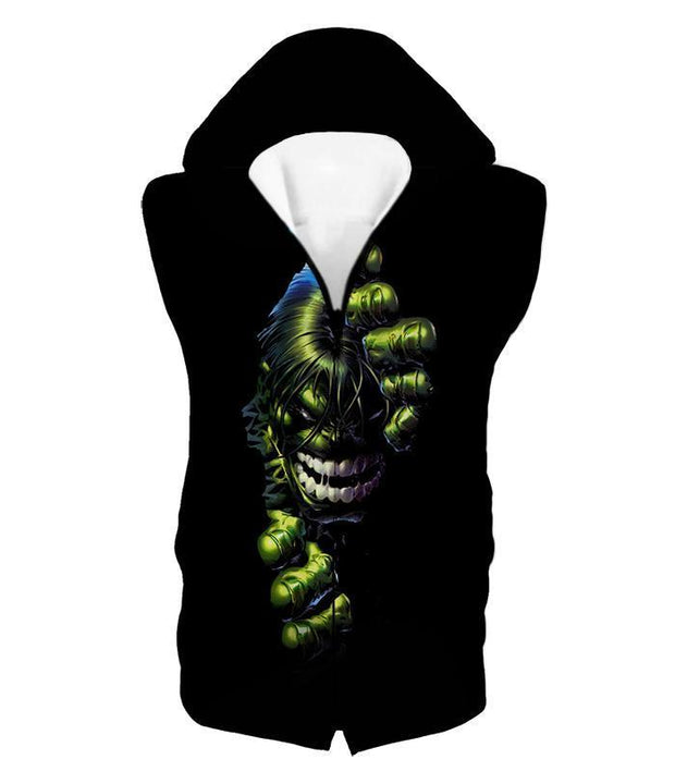 OtakuForm-OP T-Shirt Hooded Tank Top / XXS Crazily Angry Superhero Hulk Black T-Shirt
