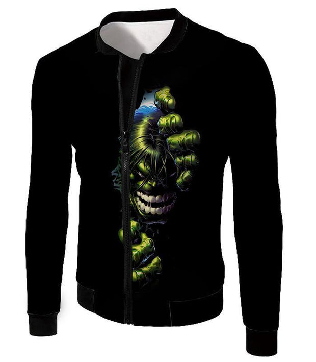 OtakuForm-OP T-Shirt Jacket / XXS Crazily Angry Superhero Hulk Black T-Shirt
