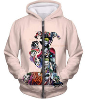 OtakuForm-OP Zip Up Hoodie Zip Up Hoodie / XXS Crazy Harley Quinn Villain Made by Joker Awesome Promo White Zip Up Hoodie