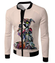 OtakuForm-OP Zip Up Hoodie Jacket / XXS Crazy Harley Quinn Villain Made by Joker Awesome Promo White Zip Up Hoodie