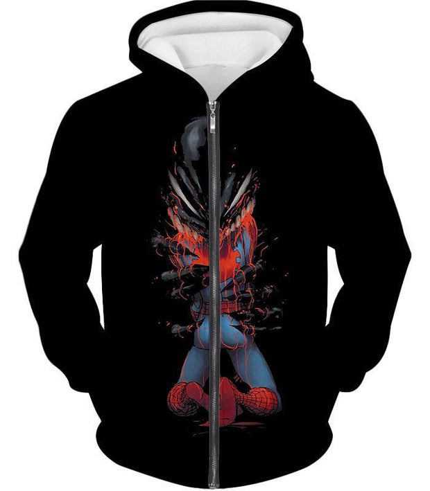 OtakuForm-OP T-Shirt Zip Up Hoodie / XXS Crazy Venom Feeding Spiderman Black Action T-Shirt