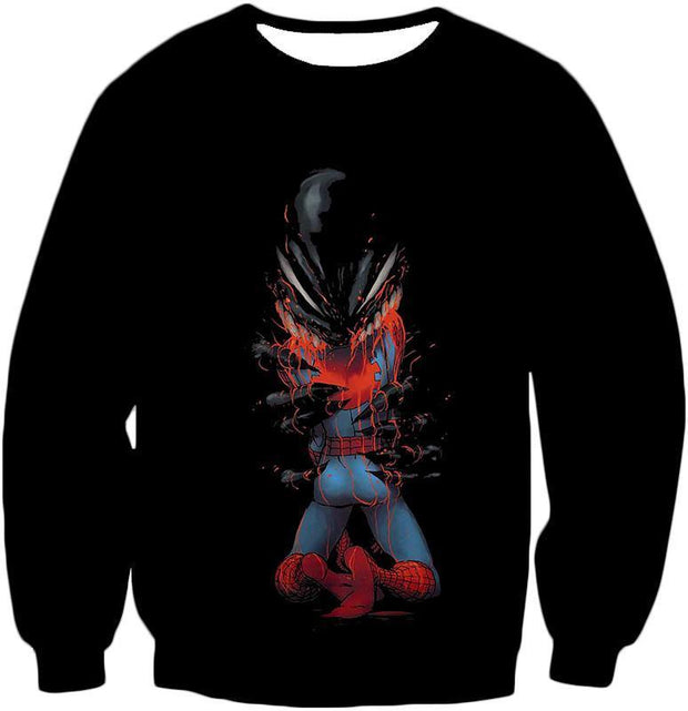 OtakuForm-OP T-Shirt Sweatshirt / XXS Crazy Venom Feeding Spiderman Black Action T-Shirt