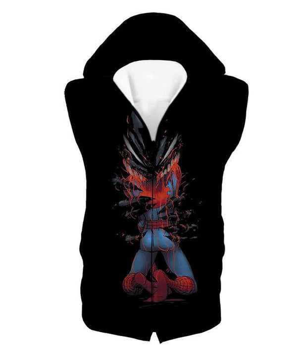 OtakuForm-OP T-Shirt Hooded Tank Top / XXS Crazy Venom Feeding Spiderman Black Action T-Shirt