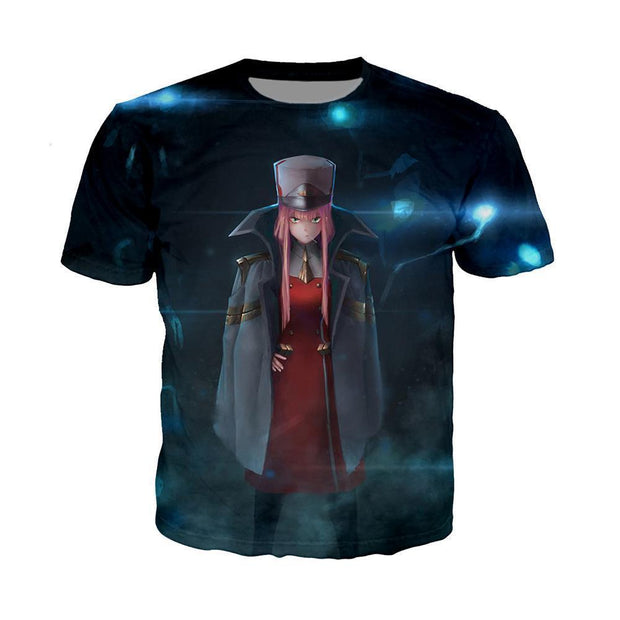 Anime Merchandise T-Shirt M Darling in the Franxx T-Shirt - Zero Two in APE Special Force Uniform T-Shirt