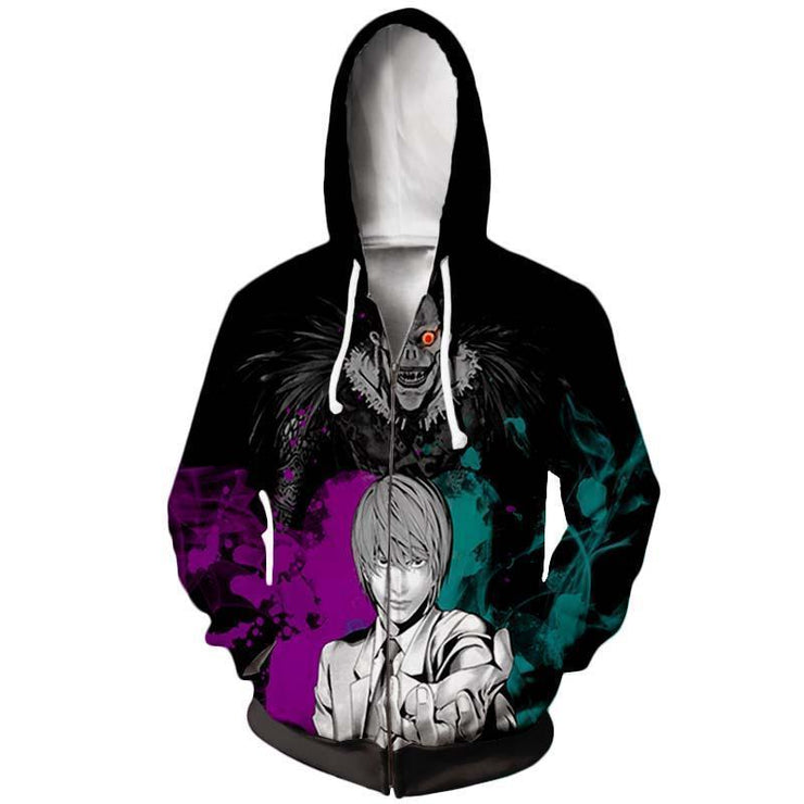 Death Note Zip Up Hoodie XXS Death Note Light and Ryuk  Zip Up Hoodie - Death Note Hoodie Jacket