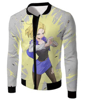 OtakuForm-OP Sweatshirt Jacket / XXS Dragon Ball Super Amazing Fighter Android 18 Cool Action Anime White Sweatshirt - Dragon Ball Z Sweater