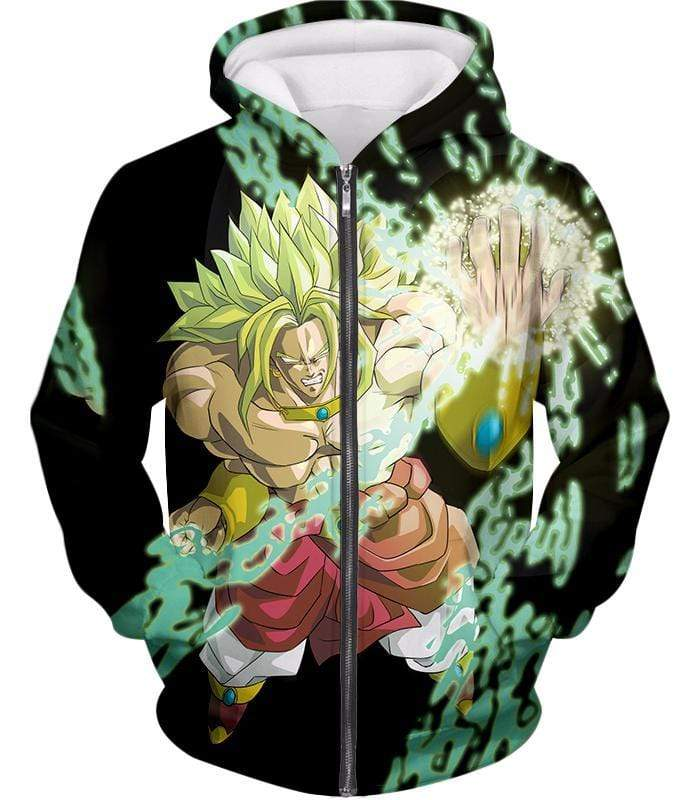 OtakuForm-OP Sweatshirt Zip Up Hoodie / XXS Dragon Ball Super Broly the Legendary Super Saiyan Action Black Sweatshirt