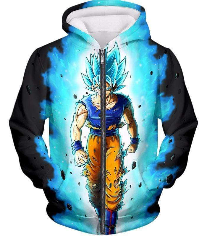 OtakuForm-OP T-Shirt Zip Up Hoodie / XXS Dragon Ball Super Cool Goku Super Saiyan Blue Awesome Anime Black T-Shirt