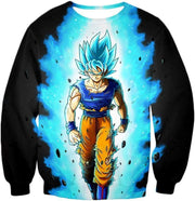 OtakuForm-OP T-Shirt Sweatshirt / XXS Dragon Ball Super Cool Goku Super Saiyan Blue Awesome Anime Black T-Shirt