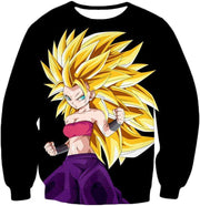 OtakuForm-OP Sweatshirt Sweatshirt / XXS Dragon Ball Super Cool Saiyan Caulifla Super Saiyan 3 Black Sweatshirt - Dragon Ball Z Sweater
